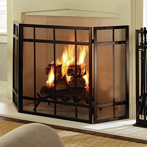 暖炉スクリーン 赤ちゃん/ペット用の黒いリビングルームの暖炉スクリーンフェンス-金属メッシュ/錬鉄スパークガード-自立型