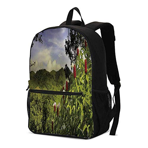 (Forest Fashional Backpack,Rural Scenery Costa Rica Countryside Greenery Tropic Accents Botanical for School Travel,12.2