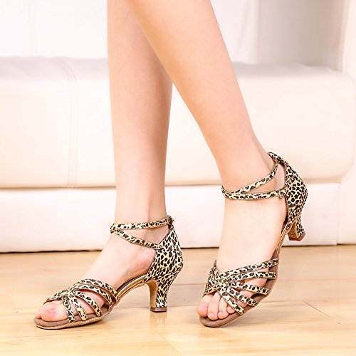 Abby 911 Womens Ballroom Party Exciting Peep Toe Rumba Kitten Heel Buckle Breathable Modern Latin Dance Shoes Leopardprint 5Zq5tj2qBb