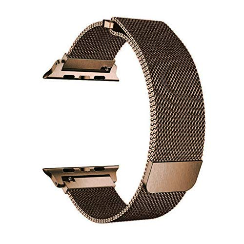 OROBAY Compatible with Watch Band 42mm 44mm, Stainless Steel Milanese Loop with Magnetic Closure Replacement Band Compatible with Watch Series 4 Series 3 Series 2 Series 1, Bronzed - Band Gold Watch Men