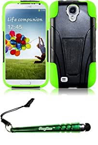 FoxyCase(TM) FREE stylus AND For Samsung Galaxy S4 i9500 T-Stand Cover Case - Black+Neon Green cas couverture