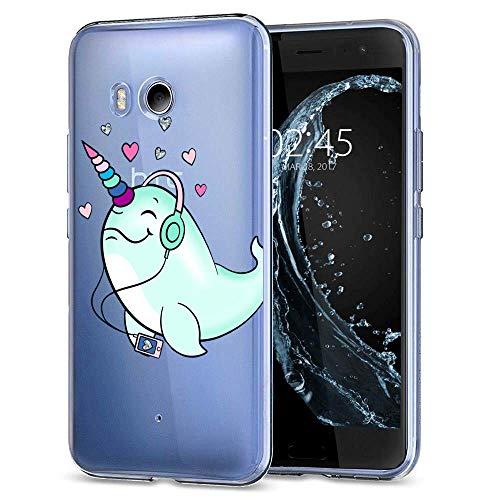 HTC U11 Case, Soft TPU Slim-Fit Flexible Ultra-Thin Clear Case, Full-Body Rugged Bumper Print Listening Music Dolphin Case for HTC U11, Transparent
