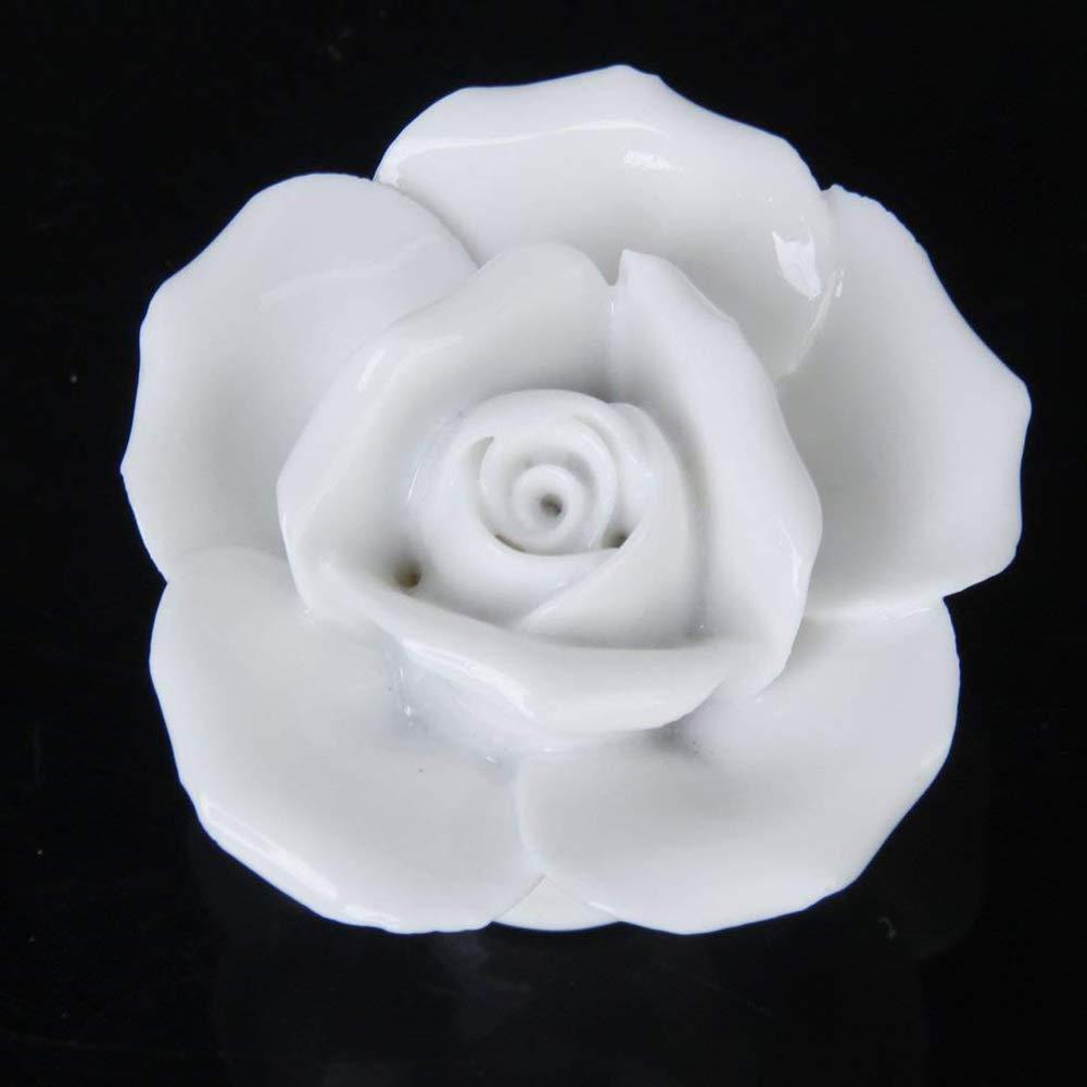 Unicoco Rose Flower Ceramic Knob 2Pcs White Door Knob Cupboard Pull Handle with Screw DIY Rose Drawer Knob