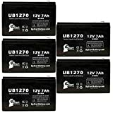 5-Pack UB1270 Universal Sealed Lead Acid Battery (12V, 7Ah, F1 Terminal, AGM, SLA) Replacement - Compatible With Yuasa NP7-12, CYBERPOWER CP1500AVRLCD, CP1000AVRLCD, CP1350AVRLCD, APC RBC2