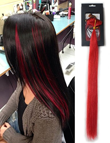 Luwigs 100% Human Virgin Hair Clip In Hair Extensions Red Color Straight Highlights Clip In No Short Hair Looking Natural 14inches 5pcs/set (14 inches, Red)