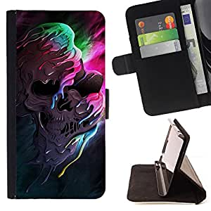 For Sony Xperia Z3 D6603 Melting Skull Colors Leather Foilo Wallet Cover Case with Magnetic Closure