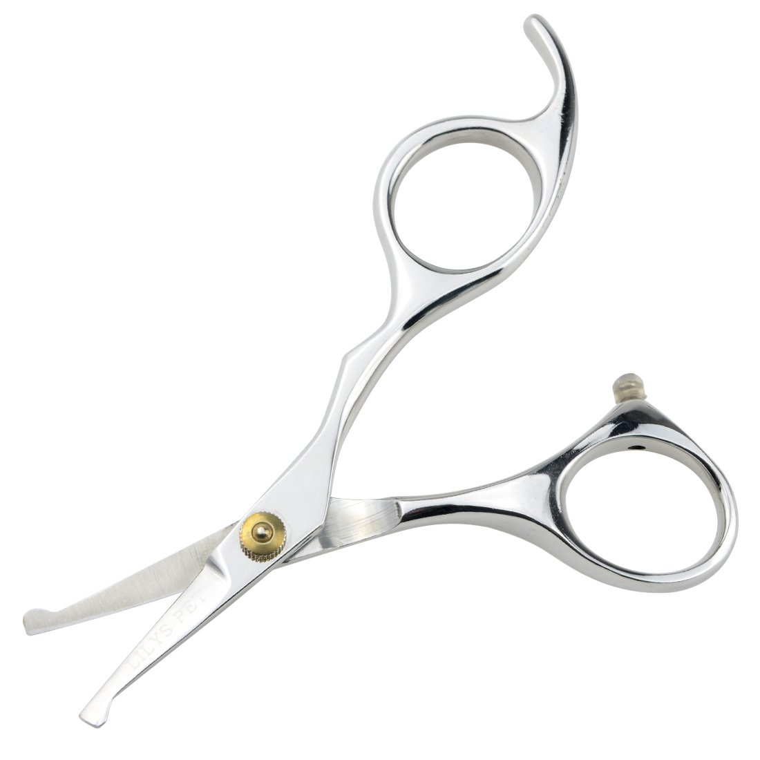 LILYS PET 5.0 Right-Handed Round-Tip Pet Grooming Scissors Stainless Steel Small Ball Tip for Nose Hair,Ear Hair,Face Hair,Paw Hair for Dogs and Cats/…