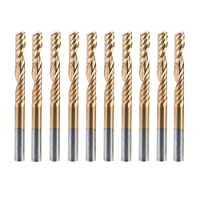 HQMaster 10 Pack 1/8 Shank Titanium Coated End Mill Milling Cutter Single Edged 1 Flute Spiral Router Bits CNC Bits Upcut Engraving Bit Tungsten Steel Cutting Set Tool Flute Length/CEL 22mm by HQMaster