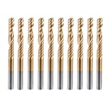 HQMaster 10 Pack 1/8''(3.175mm) Shank Dia. Titanium Coated End Mill Milling Cutter Spiral Router Bits CNC Bits 1 Flute Single Edged Engraving Bit Upcut Bits Tungsten Steel 22mm Flute Length, 38.5mm OAL