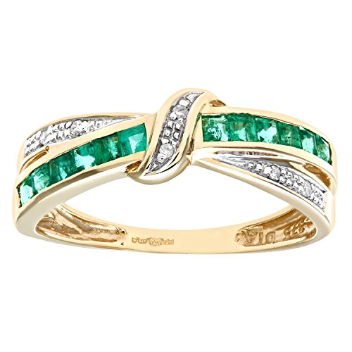 Naava Women's 9 ct Yellow Gold Emerald and Diamond Bow Ring