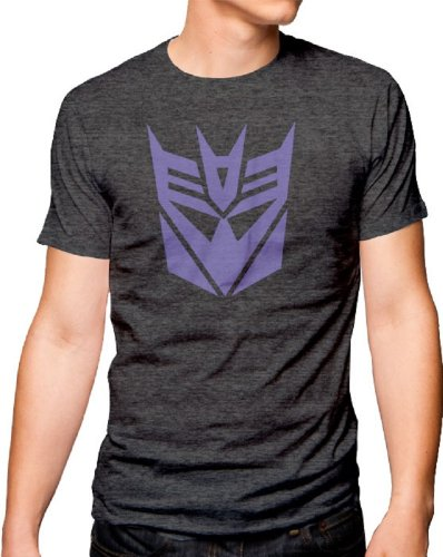 Transformers Decepticon Logo Adult Heather Gray T-Shirt (Adult Small)