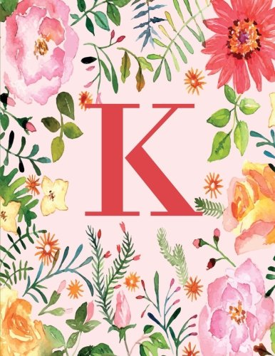 Price comparison product image K: Monogram Initial K Notebook for Women,  Girls and School,  Pink Floral 8.5 x 11