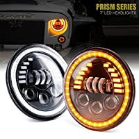 """Xprite 7"""" Inch 85W LED Headlights for Jeep Wrangler JK TJ LJ 1997-2018, w/DRL, Hi/Lo Beam,and Amber Turn Signal Halo Lights (DOT Approved)"""