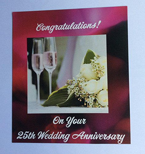 25th Wedding Anniversary Magnet with Champagne -