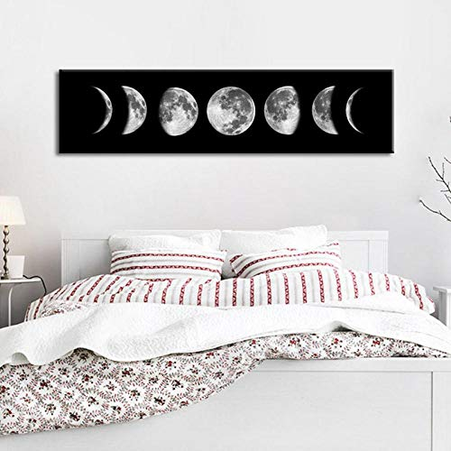 Wadyx Simple Banner Moon Variation Background Mural Waterproof Canvas Painting 30X120 cm No Frame