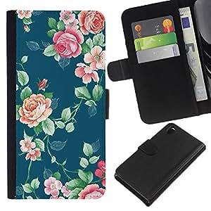 All Phone Most Case / Oferta Especial Cáscara Funda de cuero Monedero Cubierta de proteccion Caso / Wallet Case for Sony Xperia Z3 D6603 // Roses Pattern Wallpaper Vintage Art