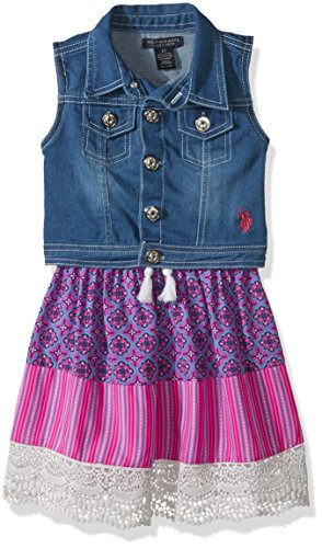 - U.S. Polo Assn. Girls' Little Dress with Sweater or Jacket, Printed Rayon Tassel Lace Trim Multi, 4