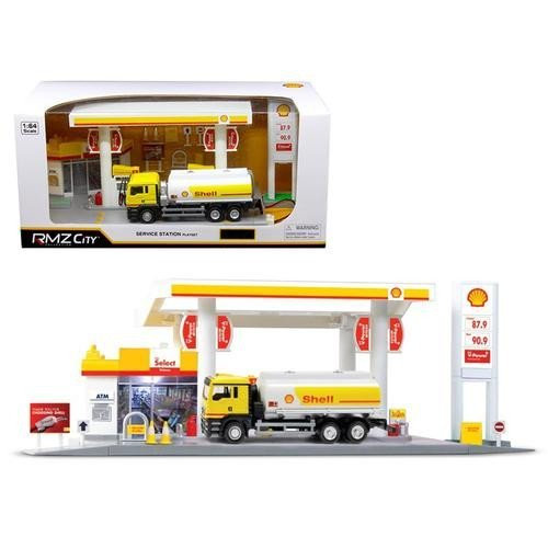 (RMZ City 24444-SHELL Shell Service Gas Station with Tanker Play Set 1/64)