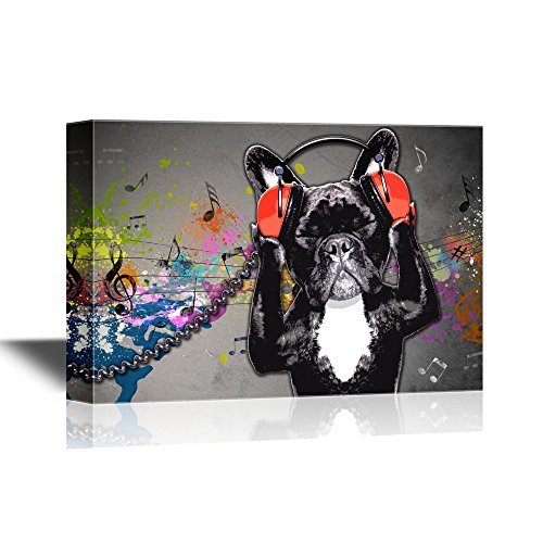 wall26 - Canvas Wall Art - Dog Listening to Music Funny Animal Concept - Gallery Wrap Modern Home Decor   Ready to Hang - 16x24 inches]()