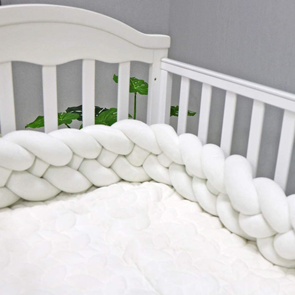 Kgjsdf Tour de lit de b/éb/é en peluche tress/ée de 1,2 m de long avec quatre torsades et n/œuds