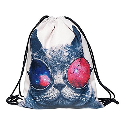 Aigemi Unicorn Print Drawstring Gym Sport Bag, Large Lightweight Gym Sackpack Backpack School Rucksack (Cool Cat)
