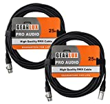 dmx cable 3 pin - Gearlux 3-Pin DMX Cable, Black, 25 Foot - 2 Pack