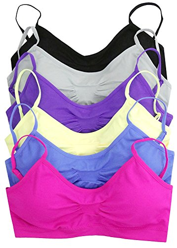Seamless Bralette (ToBeInStyle Women's Pack of 6 Solid Color Wire-Free Padded Sports Bralette - Assorted - One Size)