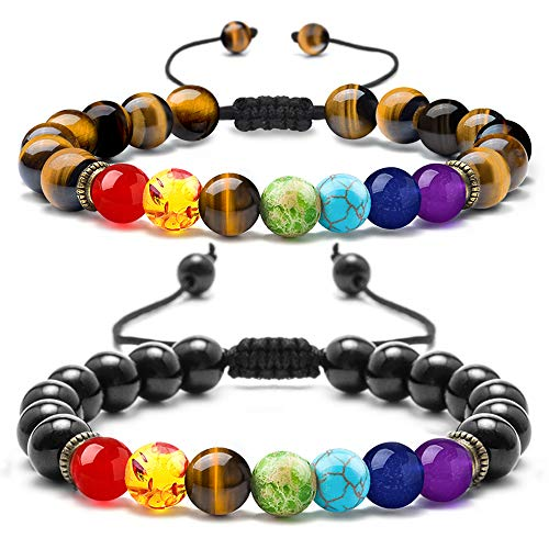 M MOOHAM Gemstone Bead Chakra Bracelets - 8mm Natural Tiger Eye Stone and Black Agate Beads Chakra Bracelet, Men Women Stress Relief Yoga Bead Bracelet Adjustable Semi-Precious Stone Anxiety Bracelet (Happiness Bead)