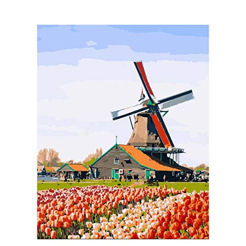 DIY Oil Painting by Numbers Kits On Canvas Pictures for Kids Room Digital Picture Hand Painted Flower and Windmill 16X20in