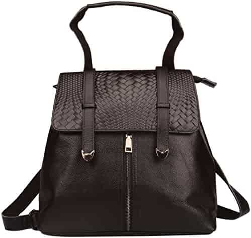926035cf41cd Fiswiss Women s Woven Flap Genuine Leather Backpack Everyday Purse Shoulder  Handbags