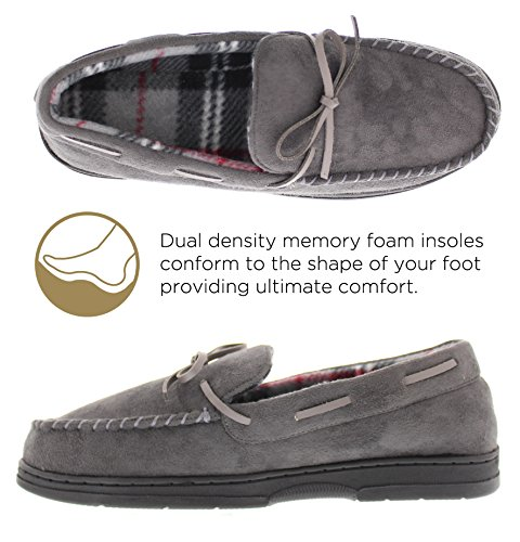 Slip Gold Fleece Casual Toe Plaid Moccasin Loafers Slipper Carter on Grey Lined Suede Faux Shearling Men's rwrxUAqv