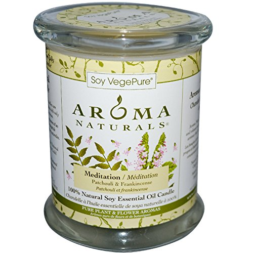 Aroma Naturals Soy VegePure 100 Natural Soy Pillar Candle Meditation Patchouli Frankincense 8 8 oz 260 g