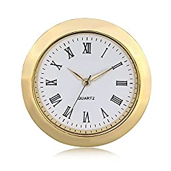 ShoppeWatch Mini Clock Insert Quartz Movement Round 1 7/16 (35mm) Miniature Clock Fit Up White Dial Gold Tone Bezel Roman Numerals CK096GD