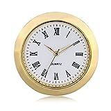ShoppeWatch Mini Clock Insert Quartz Movement Round 1 7/16'' (35mm) Miniature Clock Fit Up White Dial Gold Tone Bezel Roman Numerals CK096GD