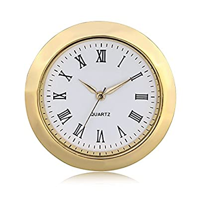 "ShoppeWatch Mini Clock Insert Quartz Movement Round 1 7/16"" (35mm) Miniature Clock Fit Up White Dial Gold Tone Bezel Roman Numerals CK096GD - Overall Outside Diameter: 1 7/16"" : This is the outside diameter of the clock face Mounting Inside Diameter: 1.28"" (32.5mm) : This is the insert diameter of the opening that the clock fits in. With addition of the ring gasket (included) this increases to 1.36"" (35 mm) Mounting Depth: 1/4"" (6.35mm). Weight: 50 gms - clocks, bedroom-decor, bedroom - 51OzGbwhLgL. SS400  -"