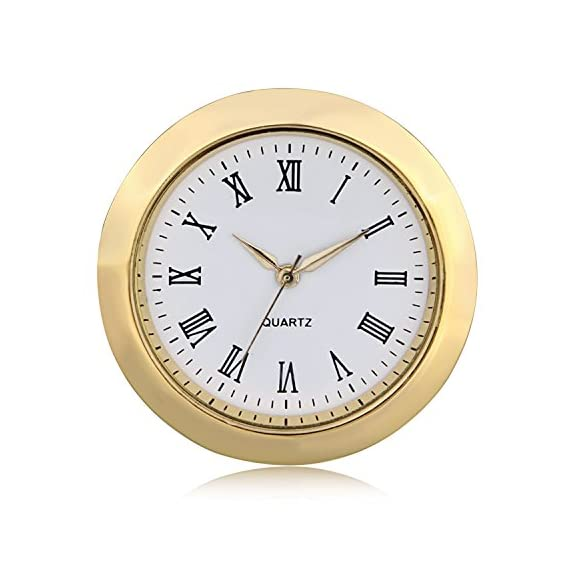 "ShoppeWatch Mini Clock Insert Quartz Movement Round 1 7/16"" (35mm) Miniature Clock Fit Up White Dial Gold Tone Bezel Roman Numerals CK096GD - Overall Outside Diameter: 1 7/16"" : This is the outside diameter of the clock face Mounting Inside Diameter: 1.28"" (32.5mm) : This is the insert diameter of the opening that the clock fits in. With addition of the ring gasket (included) this increases to 1.36"" (35 mm) Mounting Depth: 1/4"" (6.35mm). Weight: 50 gms - clocks, bedroom-decor, bedroom - 51OzGbwhLgL. SS570  -"