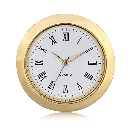 "51OzGbwhLgL - ShoppeWatch Mini Clock Insert Quartz Movement Round 1 7/16"" (35mm) Miniature Clock Fit Up White Dial Gold Tone Bezel Roman Numerals CK096GD"