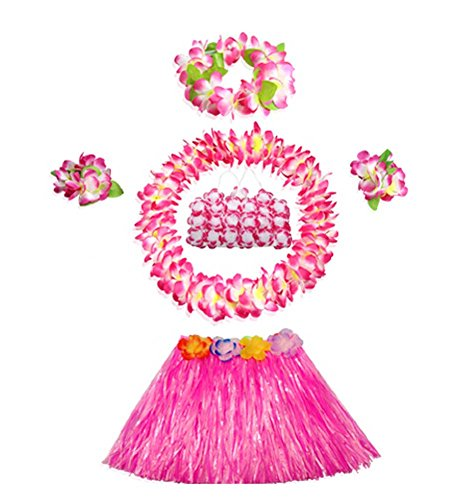 [Child Performance Dress Hawaiian Hula Clothing Costume Set] (Hawaiian Hula Outfits)
