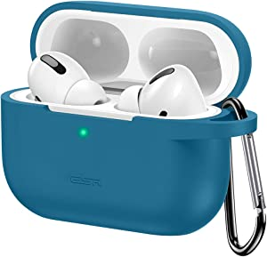 ESR Upgraded Protective Cover Compatible with AirPods Pro Case, Silicone Case with Carabiner for 2019 AirPods Pro Charging Case [Front LED Visible] Soft Slim Case – Blue