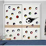 BIBITIME Sport Fans Speed Soccer Ball Wall Decal World Cup Theme Country Flag Balls US Brazil Russia Vinyl Decals for Nursery Bedroom Laptop Cover Car Window Stickers DIY
