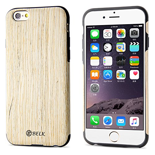 (iPhone 6S Case, iPhone 6 Case, B BELK [Air To Beat] [Slim Matte] Non Slip Wood Tactile Extra Grip Rubber Bumper [Extremely Light] Soft Wood Back Cover, Fingerprint Free Flex TPU Case, Birch )