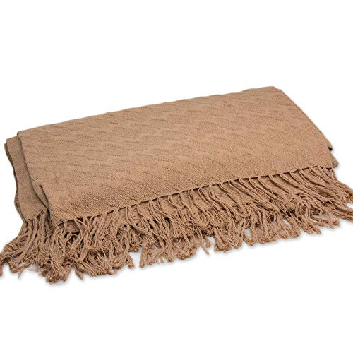 NOVICA Brown Cotton Quilt, Brown Waves' (Queen)