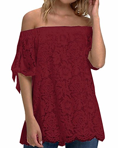 StyleDome Women's Lace Crochet Off Shoulder Short Sleeve Tops Tee Shirt Blouse Claret US 12