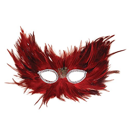 Bristol Novelty EM001 Feather Eye Mask, Red/Black, One Size -