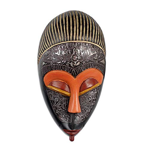 NOVICA Hand Crafted Aluminum and Wood Ghanaian Mask, Multicolor, Adom Ahoto' ()
