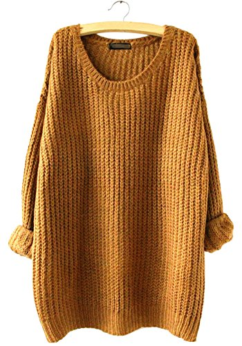 WmcyWell Women's Casual Oversized Crew Neck Pullover Sweater Knitwear Tops, One Size, Khaki