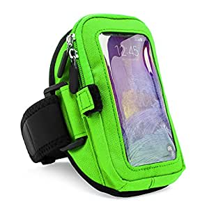 Green VG Zippered Hardcore Workout Armband for ZTE Grand X Max Z787 / ZTE ZMAX Z970 Smartphones