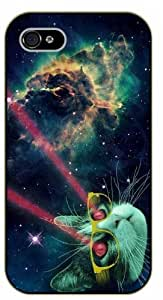 iPhone 5 / 5s Space cat, laser eyes - black plastic case / Cats, Hipster