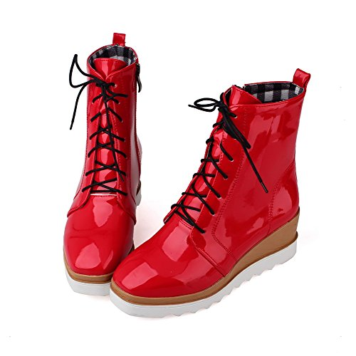 Boots Heels AmoonyFashion Toe Women's Solid Lace Red Closed Round Kitten Leather up Patent nqPWnxEw