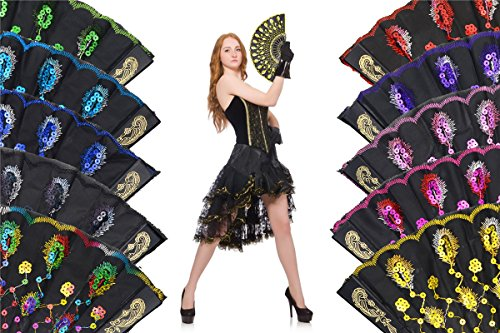 OMyTea Black Peacock Folding Hand Held Fans Bulk Pack Set for Women - Spanish/Chinese/Japanese Vintage Retro Fabric Fans for Wedding, Church, Party, Gifts (Mixed Colors, 10pcs) by OMyTea (Image #1)